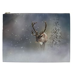 Santa Claus Reindeer In The Snow Cosmetic Bag (xxl) by gatterwe