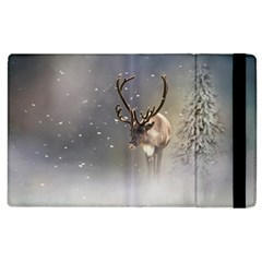 Santa Claus Reindeer In The Snow Apple Ipad 2 Flip Case by gatterwe