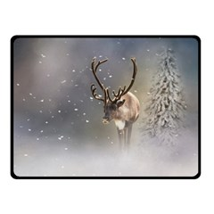 Santa Claus Reindeer In The Snow Double Sided Fleece Blanket (small) by gatterwe
