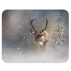 Santa Claus Reindeer In The Snow Double Sided Flano Blanket (medium) by gatterwe