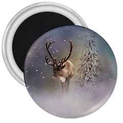 Santa Claus Reindeer In The Snow 3  Magnets by gatterwe