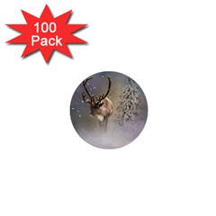 Santa Claus Reindeer In The Snow 1  Mini Buttons (100 Pack)  by gatterwe
