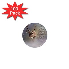 Santa Claus Reindeer In The Snow 1  Mini Magnets (100 Pack)  by gatterwe
