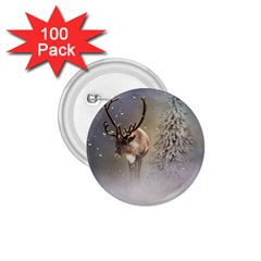 Santa Claus Reindeer In The Snow 1 75  Buttons (100 Pack)  by gatterwe