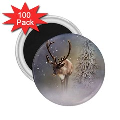 Santa Claus Reindeer In The Snow 2 25  Magnets (100 Pack)  by gatterwe