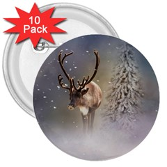 Santa Claus Reindeer In The Snow 3  Buttons (10 Pack)  by gatterwe