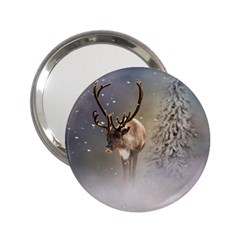 Santa Claus Reindeer In The Snow 2 25  Handbag Mirrors by gatterwe