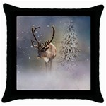 Santa Claus Reindeer In The Snow Throw Pillow Case (Black) Front