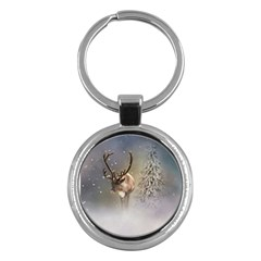 Santa Claus Reindeer In The Snow Key Chains (round)  by gatterwe