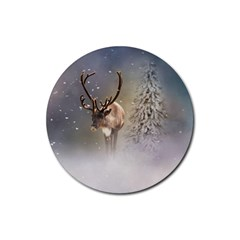 Santa Claus Reindeer In The Snow Rubber Round Coaster (4 Pack)  by gatterwe