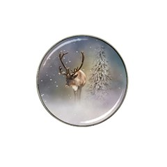 Santa Claus Reindeer In The Snow Hat Clip Ball Marker by gatterwe