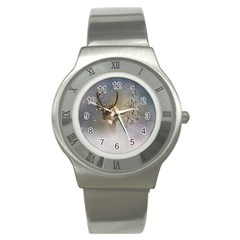 Santa Claus Reindeer In The Snow Stainless Steel Watch by gatterwe