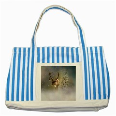 Santa Claus Reindeer In The Snow Striped Blue Tote Bag by gatterwe