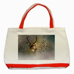 Santa Claus Reindeer In The Snow Classic Tote Bag (red) by gatterwe