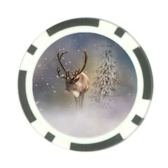 Santa Claus Reindeer In The Snow Poker Chip Card Guard by gatterwe