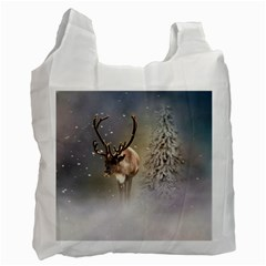 Santa Claus Reindeer In The Snow Recycle Bag (two Side)  by gatterwe