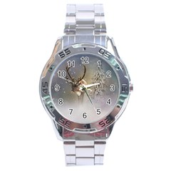 Santa Claus Reindeer In The Snow Stainless Steel Analogue Watch by gatterwe