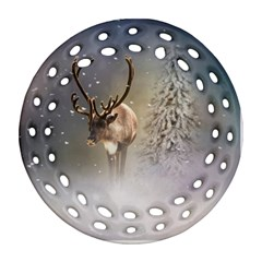 Santa Claus Reindeer In The Snow Round Filigree Ornament (two Sides) by gatterwe