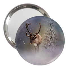 Santa Claus Reindeer In The Snow 3  Handbag Mirrors by gatterwe