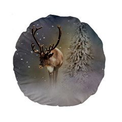 Santa Claus Reindeer In The Snow Standard 15  Premium Round Cushions by gatterwe