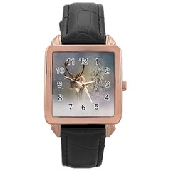 Santa Claus Reindeer In The Snow Rose Gold Leather Watch  by gatterwe