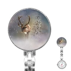 Santa Claus Reindeer In The Snow Stainless Steel Nurses Watch by gatterwe