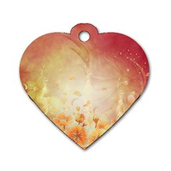 Flower Power, Cherry Blossom Dog Tag Heart (two Sides) by FantasyWorld7
