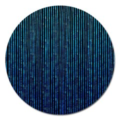 Stylish Abstract Blue Strips Magnet 5  (round) by gatterwe