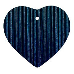 Stylish Abstract Blue Strips Heart Ornament (two Sides) by gatterwe