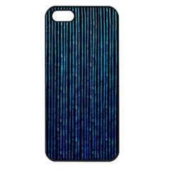 Stylish Abstract Blue Strips Apple Iphone 5 Seamless Case (black) by gatterwe