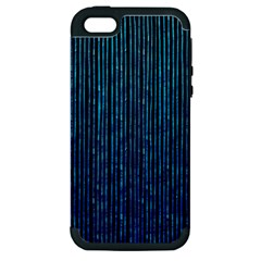 Stylish Abstract Blue Strips Apple Iphone 5 Hardshell Case (pc+silicone) by gatterwe