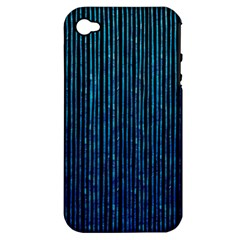 Stylish Abstract Blue Strips Apple Iphone 4/4s Hardshell Case (pc+silicone) by gatterwe