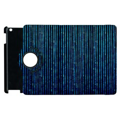Stylish Abstract Blue Strips Apple Ipad 3/4 Flip 360 Case by gatterwe