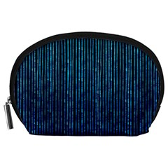 Stylish Abstract Blue Strips Accessory Pouches (large)  by gatterwe