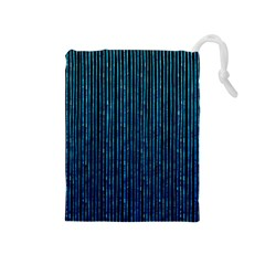 Stylish Abstract Blue Strips Drawstring Pouches (medium)  by gatterwe