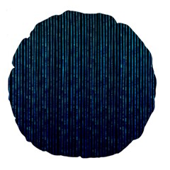 Stylish Abstract Blue Strips Large 18  Premium Flano Round Cushions by gatterwe