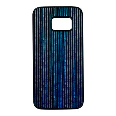 Stylish Abstract Blue Strips Samsung Galaxy S7 Black Seamless Case by gatterwe