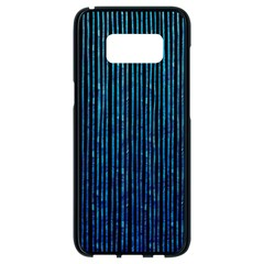 Stylish Abstract Blue Strips Samsung Galaxy S8 Black Seamless Case by gatterwe