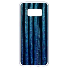 Stylish Abstract Blue Strips Samsung Galaxy S8 White Seamless Case by gatterwe