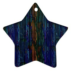 Stylish Colorful Strips Star Ornament (two Sides) by gatterwe