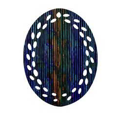 Stylish Colorful Strips Ornament (oval Filigree) by gatterwe