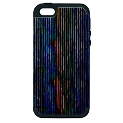 Stylish Colorful Strips Apple Iphone 5 Hardshell Case (pc+silicone) by gatterwe