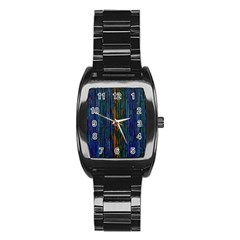 Stylish Colorful Strips Stainless Steel Barrel Watch by gatterwe