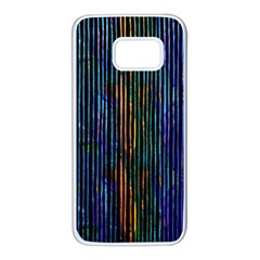 Stylish Colorful Strips Samsung Galaxy S7 White Seamless Case by gatterwe