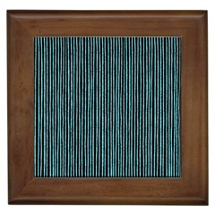 Stylish Frost Blue Strips Framed Tiles by gatterwe