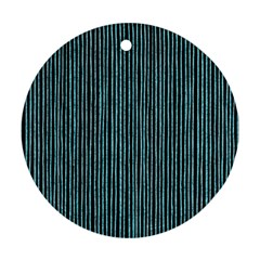 Stylish Frost Blue Strips Ornament (round) by gatterwe