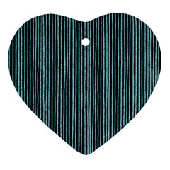 Stylish Frost Blue Strips Ornament (heart) by gatterwe