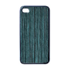 Stylish Frost Blue Strips Apple Iphone 4 Case (black) by gatterwe
