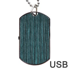 Stylish Frost Blue Strips Dog Tag Usb Flash (one Side) by gatterwe