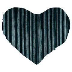 Stylish Frost Blue Strips Large 19  Premium Heart Shape Cushions by gatterwe
